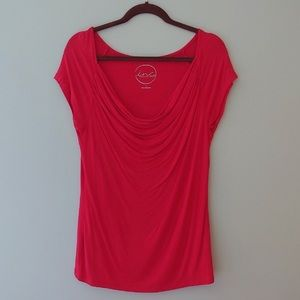 INC Red Cowl Neck Tee